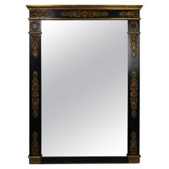 Classical French Empire Black and Gilt Neoclassical Mirror Waldorf Astoria
