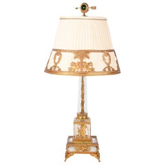 Classical French Empire Style Glass and Ormolu Lamp, circa 1900