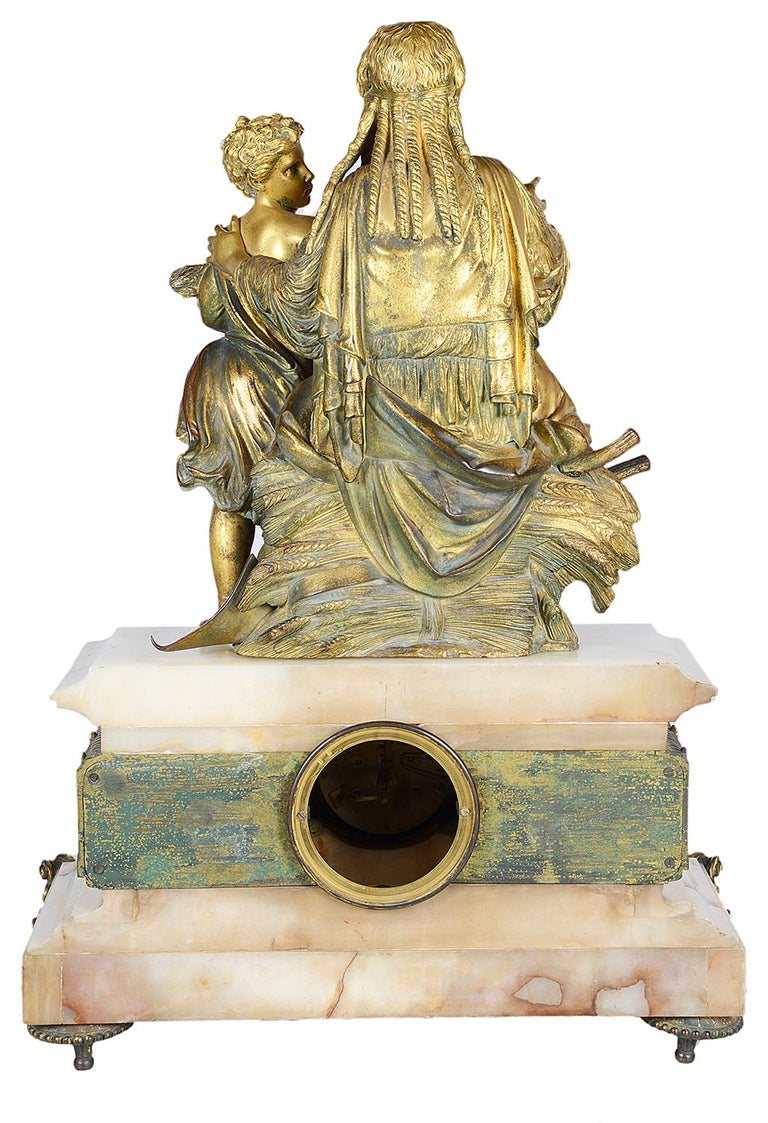 Marble Classical French Louis XVI Style Mantel Clock, 19th Century For Sale
