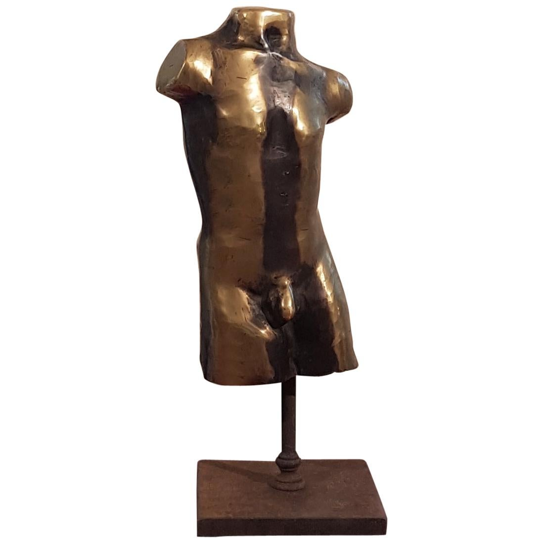 Classical Golden Bronze Man Nude Sculpture on a Cast Iron Base, Italy, 1950s
