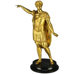 Classical Grand Tour Gilt Bronze Sculpture of Emperor on Marble Plinth