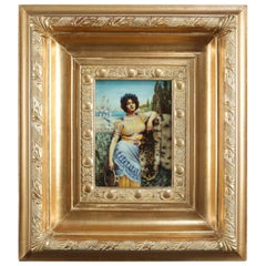 Classical Greek Oil on Board Portrait Painting of Young Woman, 20th Century