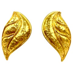 Statement Hammered Gold Laurel Leaf Earrings, 18 Karat, Classic Greek Design