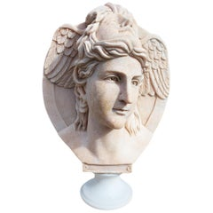 Classical Hand Carved Portuguese Rosa Marble Two Faced Winged Bust