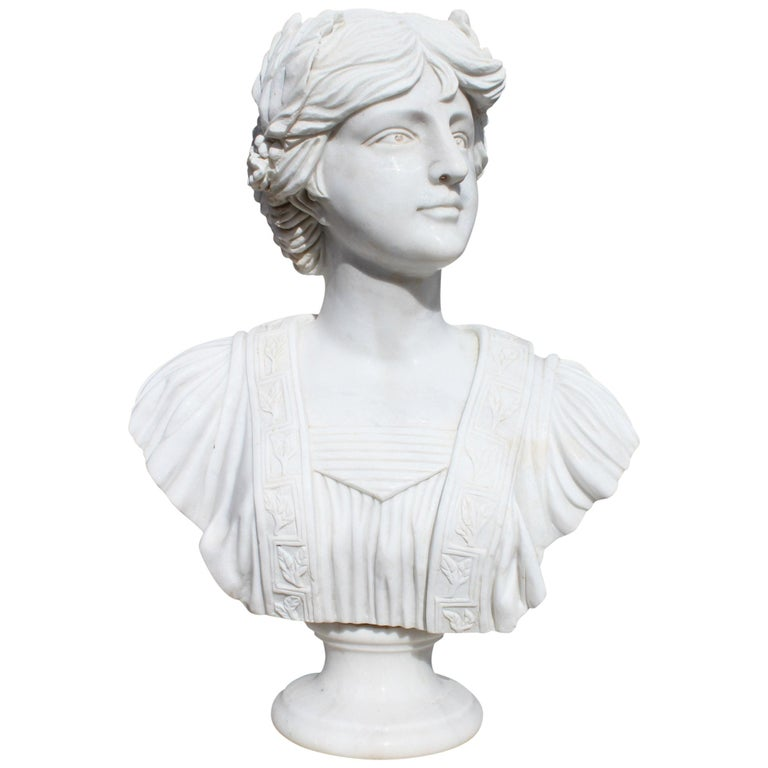 Classical Hand Carved White Marble Female Bust For Sale
