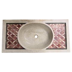 Classical Inlaid Carved Marble Stone Sink Basin