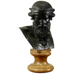 Classical Italian Bronze Bust after the Antique on a Sienna Marble Soccle