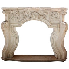 Classical Italian Fireplace Mantle Hand-Carved in Egyptian Yellow Marble