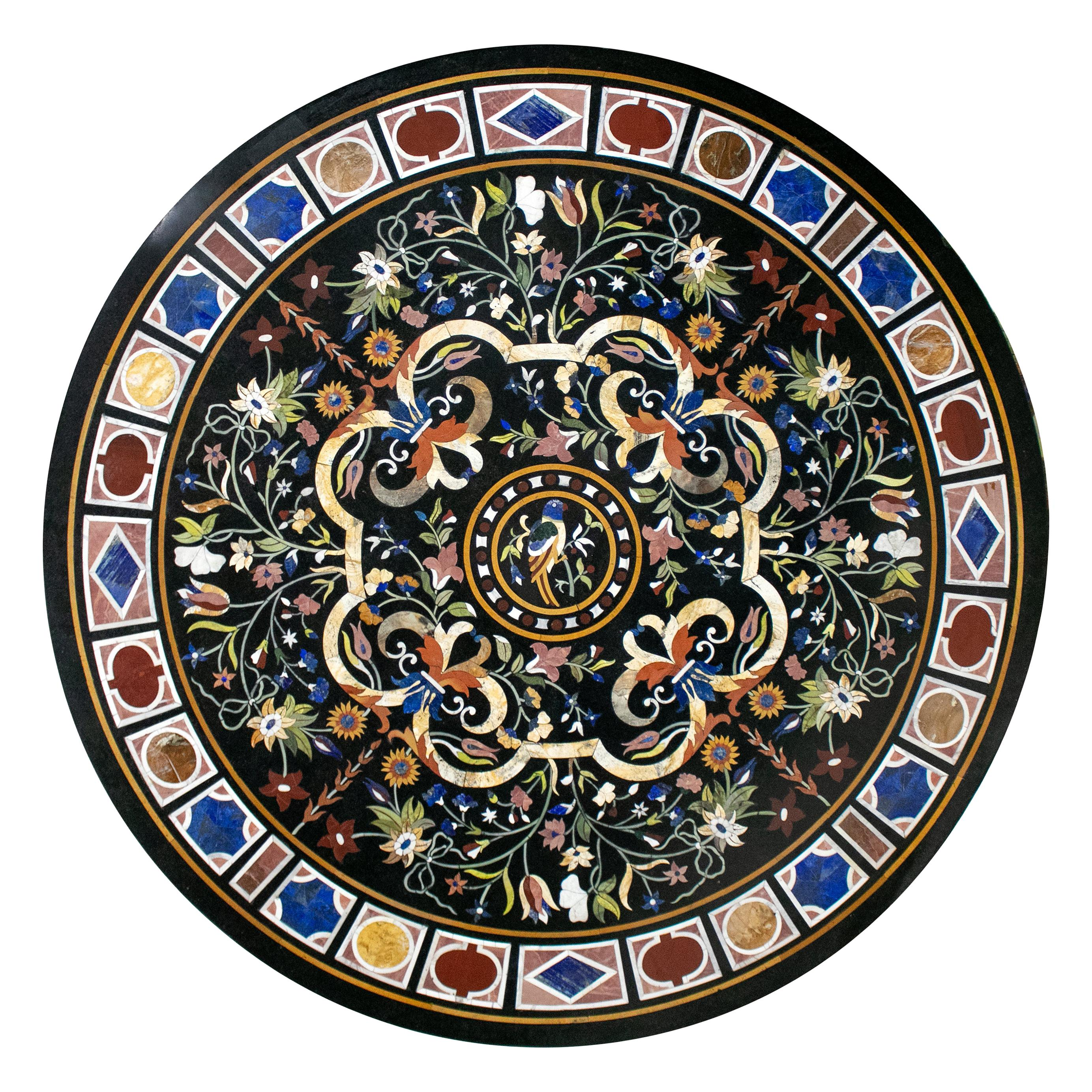 Classical Italian Pietra Dura Stone Mosaic Black Marble Round Table Top
