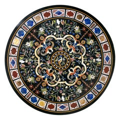 Classical Italian Pietra Dura Stone Mosaic Black Marble Round Table Top