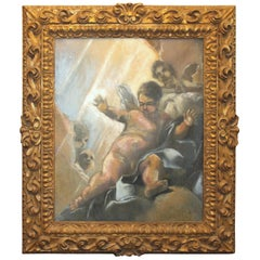 Classical Italian Style Painting of Cherub Set in Carved Wood Gilt Frame