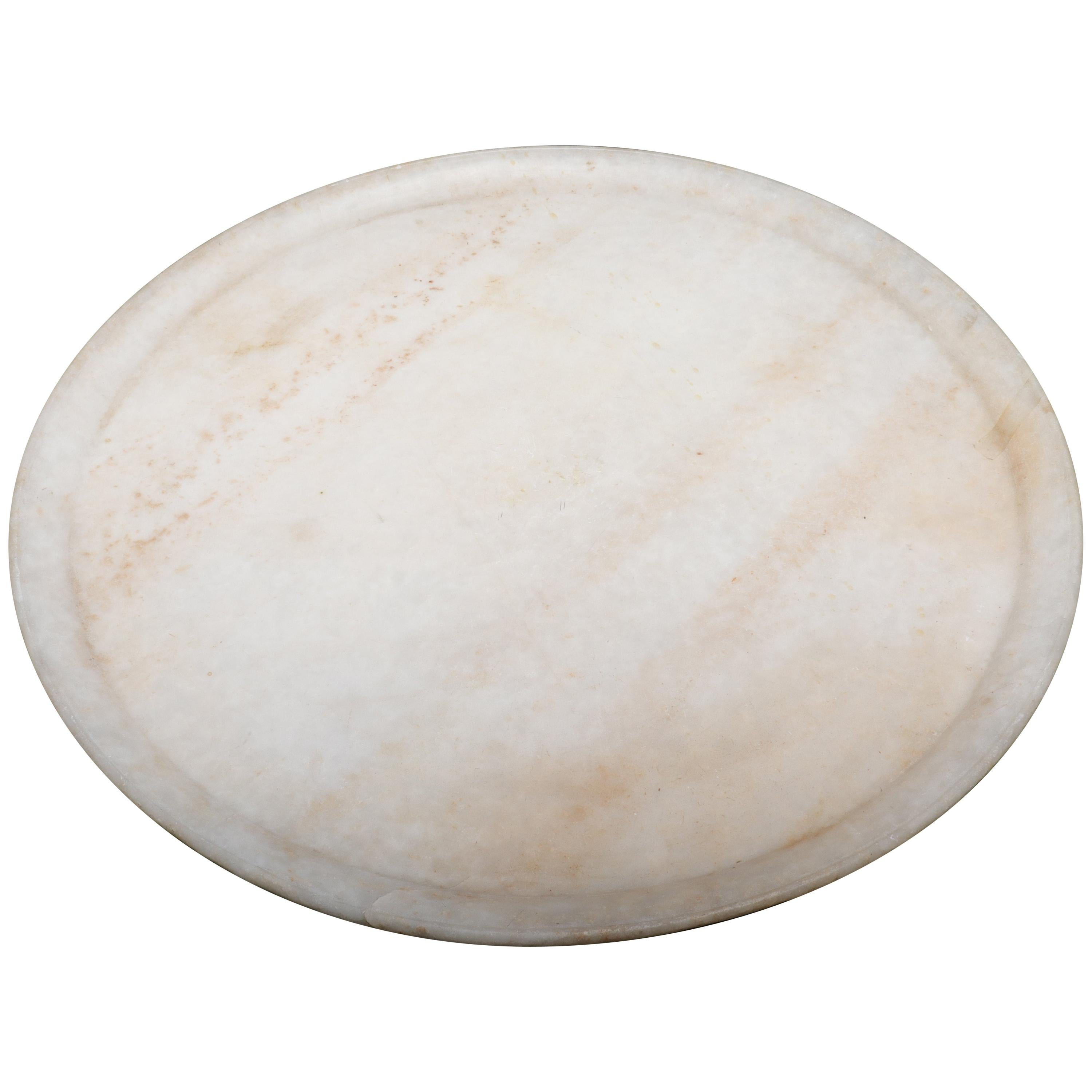 Classical Large Round White Marble Serving Tray