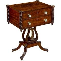Classical Mahogany Lyre Worktable, Philadelphia, Original Glass Pulls circa 1820