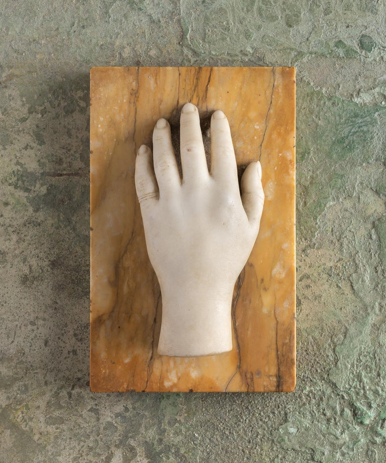 Classical Marble Artist Model Hand, Italy, Late 19th Century  Life-size marble sculpture of a female hand mounted on original marble base.