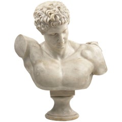 Classical Marble Bust of Hermes Holding Dionysus after the Antique by Praxiteles