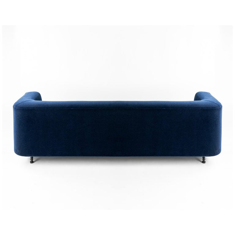 American Classical Modern Round Sofa, Contemporary with Simple Hand Carved Steal Elements For Sale