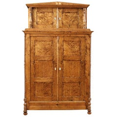 Classical North German Biedermeier Cabinet in Fire Birch, circa 1835