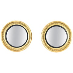 Pair of English Regency Giltwood Bullseye Mirrors