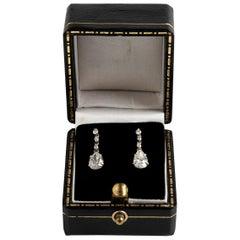 Classical Pear Drop Old Cut Diamond Earrings