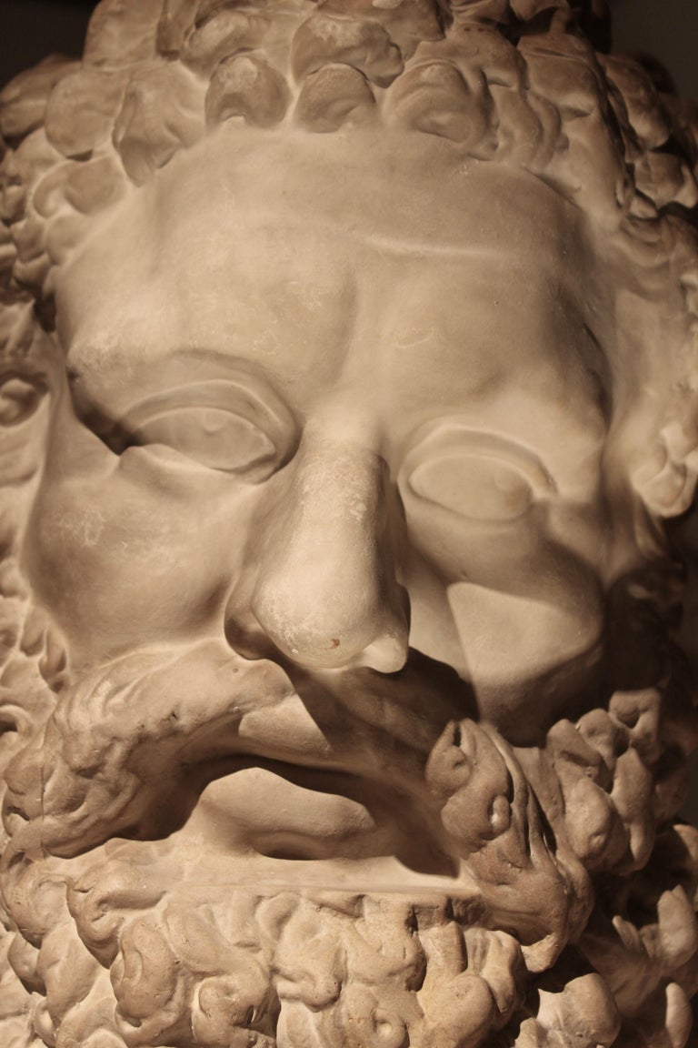 Classical Plaster Bust of the Farnese Hercules, circa 1950 In Good Condition For Sale In London, GB