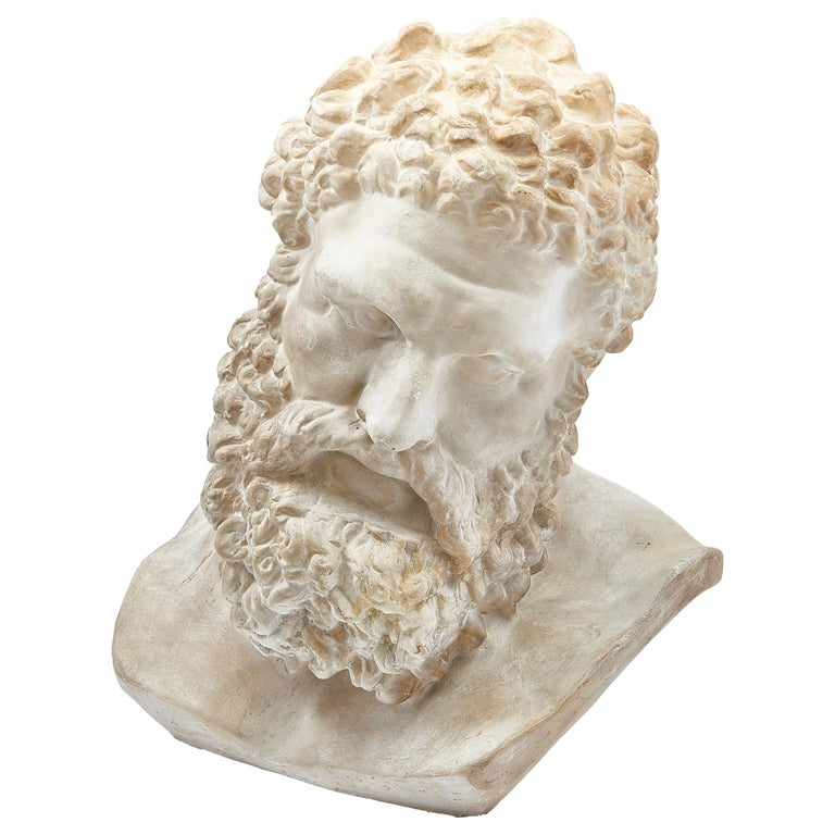 Classical Plaster Bust of the Farnese Hercules, circa 1950 For Sale