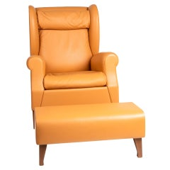Classical Poltrona Frau Leather Wingback Chair with Matching Ottoman