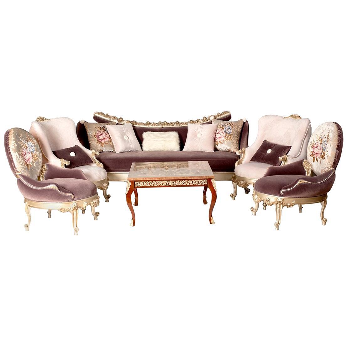 Classical Precious Carved Living Room '6 Pieces', 20th Century