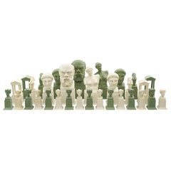 Classical Revival Parian Chess Set circa 1880 Attributed, Austrian
