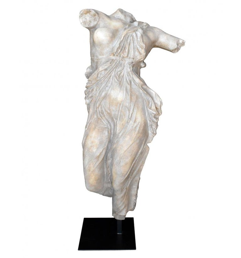 Classical Roman Female Dancing Torso in Resin Imitating Marble on Iron Pedestal For Sale