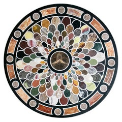 Classical Roman Italian Pietra Dura Stone Mosaic Inlay Round Table Top