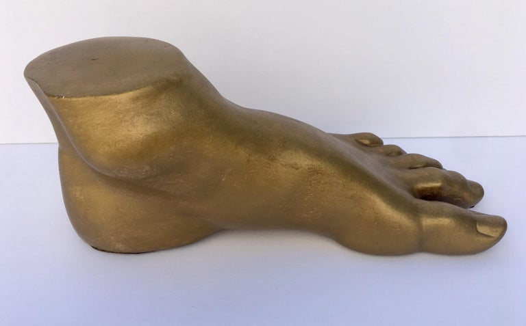 Hollywood Regency Classical Roman Style Plaster Foot Fragment Sculpture For Sale