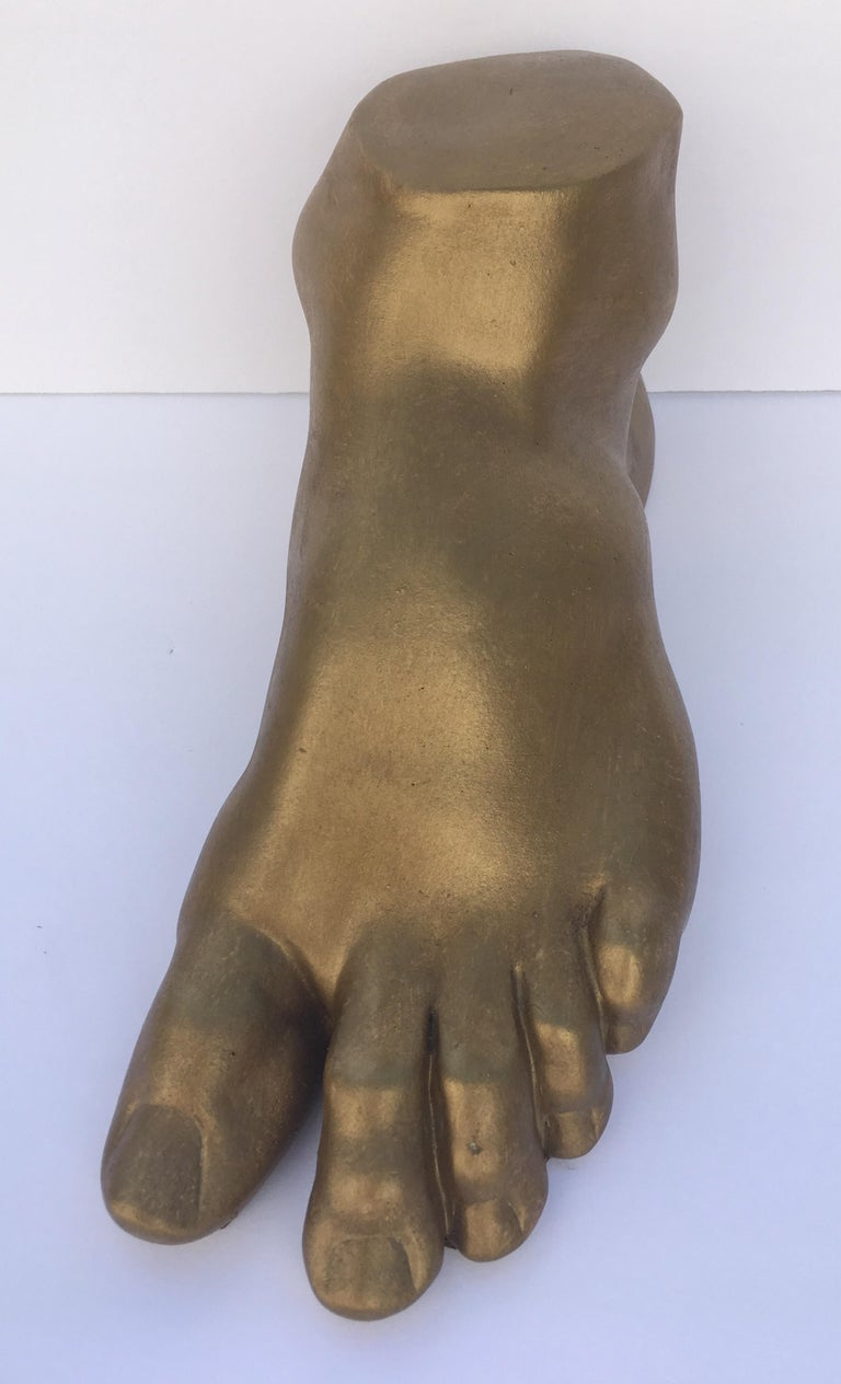 Classical Roman Style Plaster Foot Fragment Sculpture In Good Condition For Sale In Lambertville, NJ