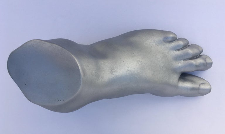 Contemporary Classical Roman Style Plaster Foot Fragment Sculpture For Sale
