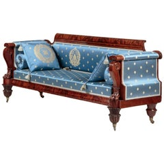 Classical Rosewood-Inlaid Carved-Mahogany Sofa