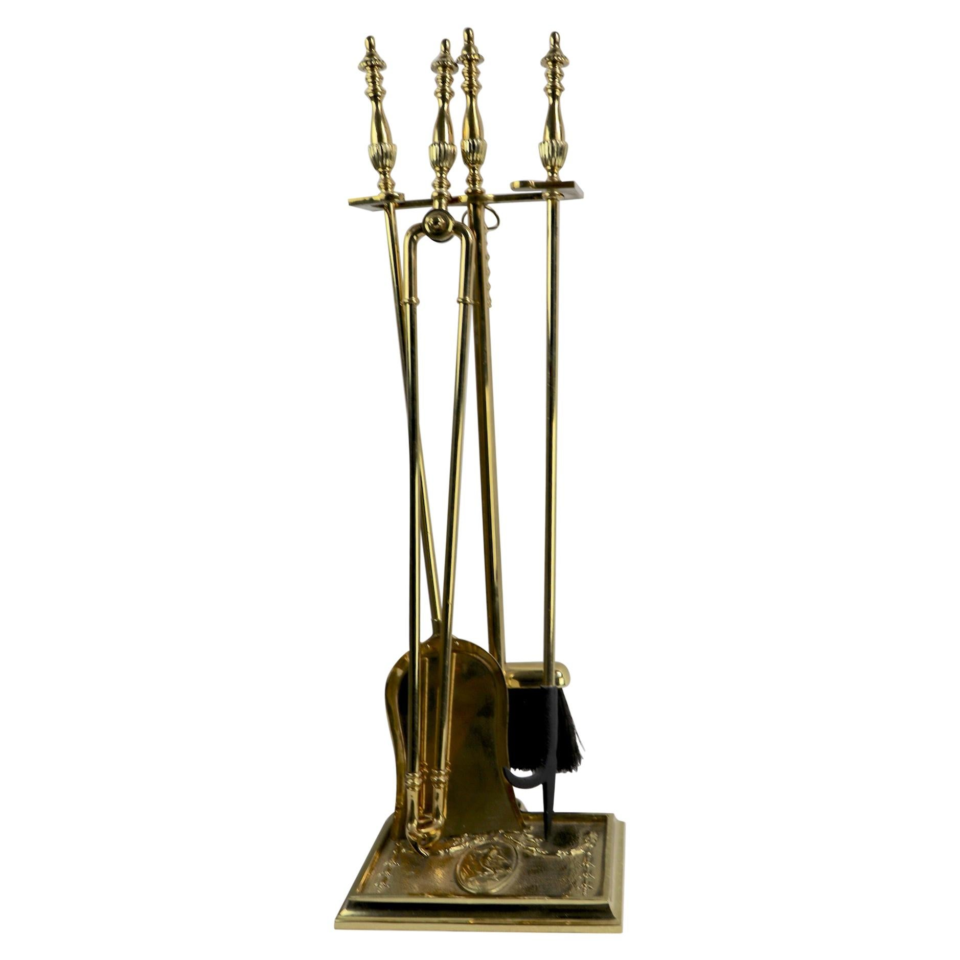 Excellent Set Of 1950S Brass Fireplace Tools With Horse Head Motif Download Free Architecture Designs Grimeyleaguecom