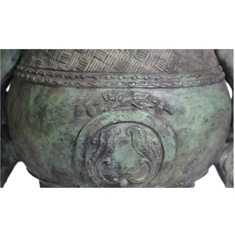 Contemporary Classical Style Cast Bronze Urn with Two Cupids and Rams' Heads, Verde Patina For Sale