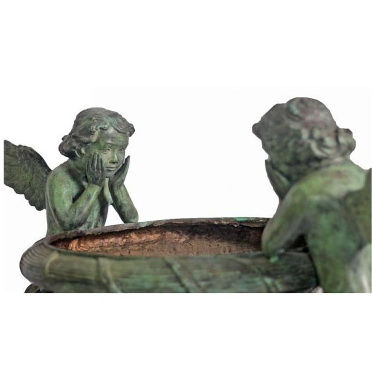 Classical Style Cast Bronze Urn with Two Cupids and Rams' Heads, Verde Patina For Sale 2