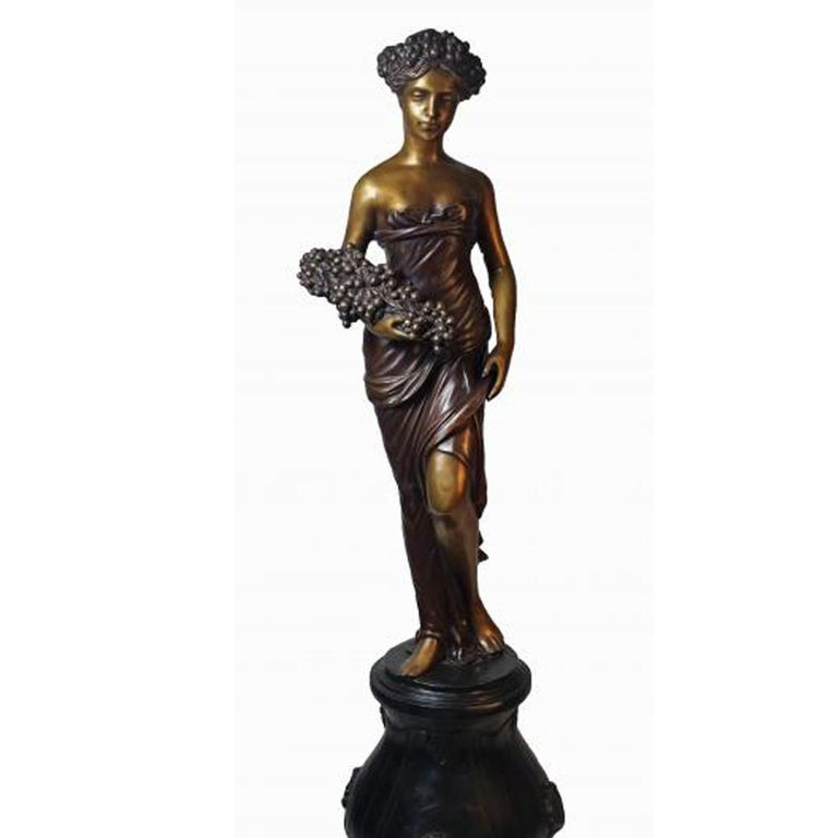 Four contemporary bronze classical style sculptures of women depicting the four allegories of the seasons, priced and sold individually. Cast with the traditional technique of the lost-wax (à la cire perdue), these allegories reprise a theme dear to