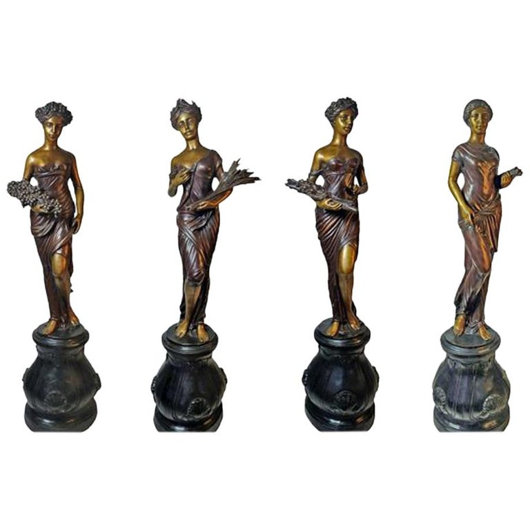 Classical Style Contemporary Bronze Allegories of the Seasons Sculptures For Sale
