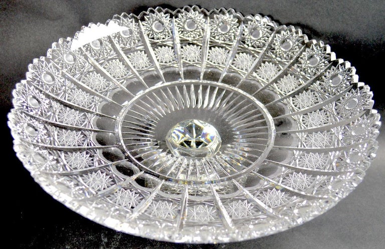 American Classical Classical Style Cut Glass Tazza For Sale