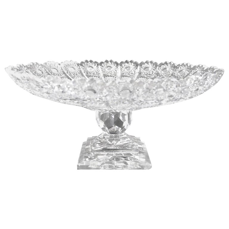 Classical Style Cut Glass Tazza For Sale