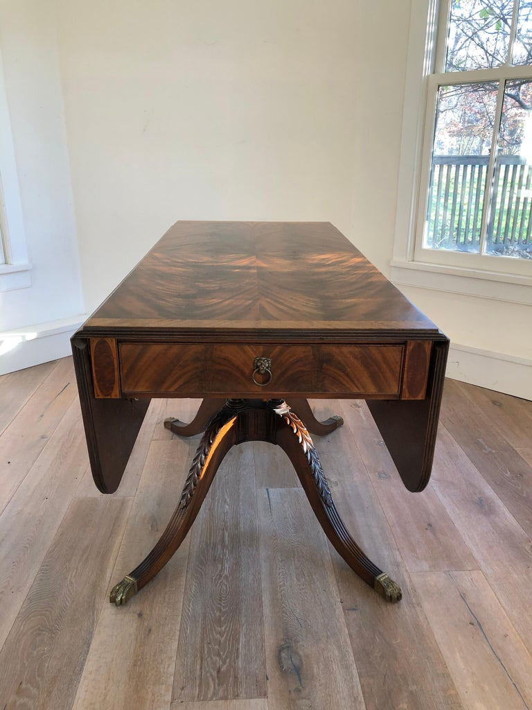 Classical Style Drop Leaf Library Table For Sale At 1stdibs