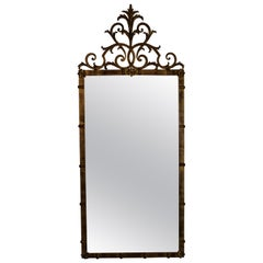 Classical Style Gold Metal Mirror with Rosette Decoration Scrolled Finial Top