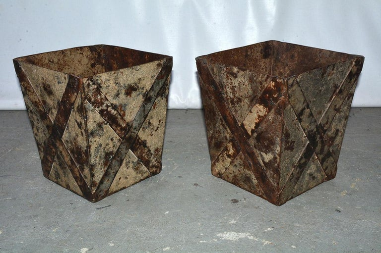Painted iron waste basket or trash can with wonderful patina, X-design.