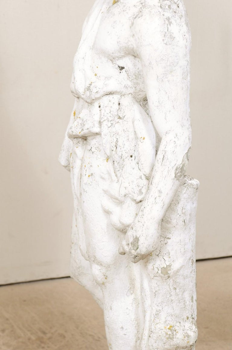 Classical Tall French Garden Sculpture of Male Figure from Early 20th Century For Sale 5