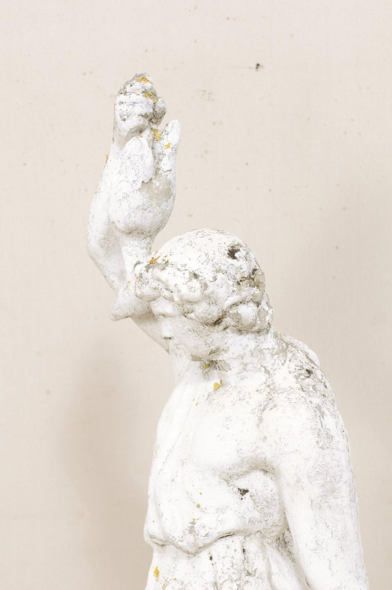 Classical Tall French Garden Sculpture of Male Figure from Early 20th Century In Good Condition For Sale In Atlanta, GA