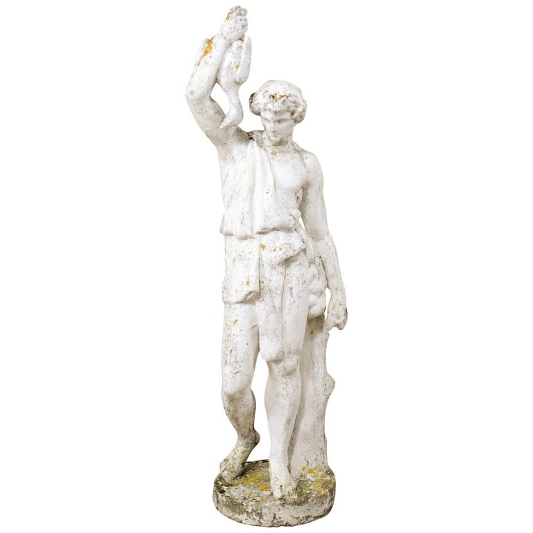 Classical Tall French Garden Sculpture of Male Figure from Early 20th Century For Sale