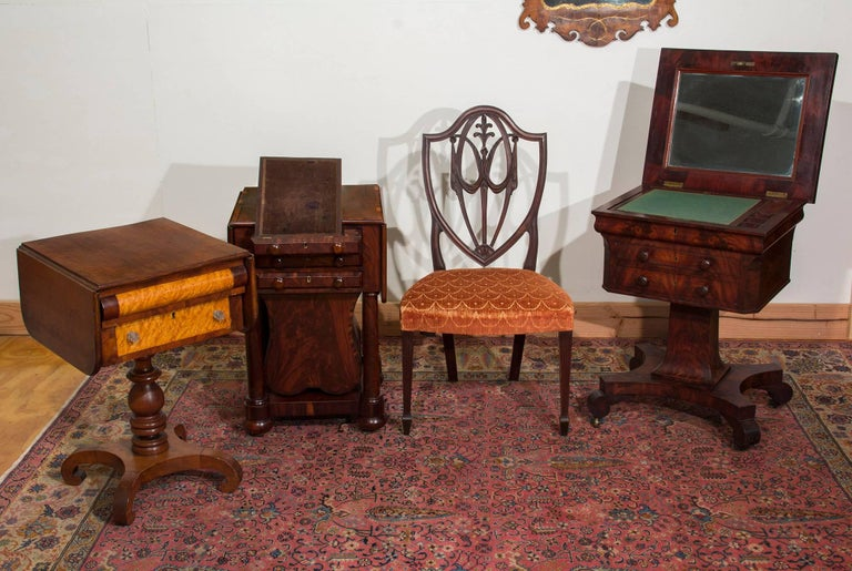 Classical Three-Drawer Worktable with Rare Lyre Basket, Boston For Sale 2