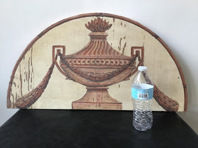 1950s classical urn painted on wood plaque.