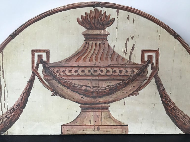 Classical Urn Painted on Wood Plaque In Fair Condition For Sale In Tarrytown, NY